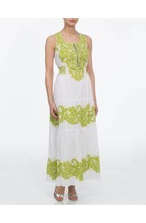 Floral Baroque Maxi Dress - White/Lime