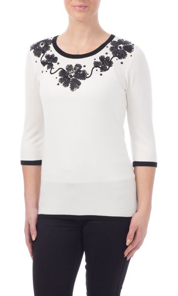 Anna Rose Floral Sequin Knit Top