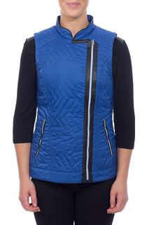 Faux Leather Trim Biker Gilet