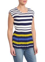 Stripe And Pleat Top
