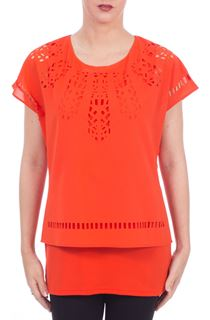 Layered Cut Out Top - Orange