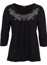 Anna Rose Embellished Pleat Top