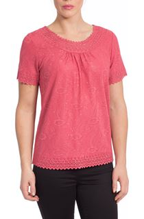 Anna Rose Laser Cut Top - Dusky Red