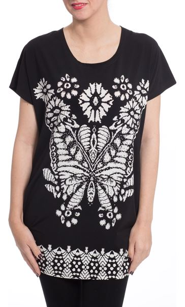 Embellished Butterfly Print Tunic