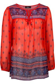 Border Print Top - Red