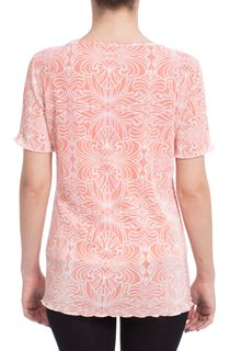 Anna Rose Print Pleat Top - Coral/White