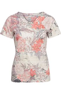 Anna Rose Burn Out Print Top - Multi