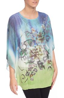 Crinkle Georgette Floral Design Cover Up