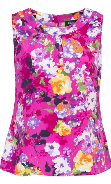 Floral Swoop Neck Sleeveless Top