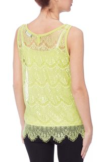 Floral Lace Top - Bright Lime