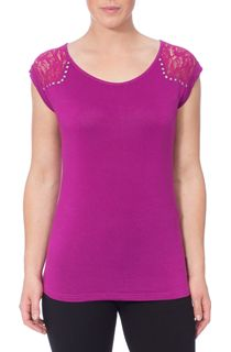Stud And Lace Trim Jersey Top - Magenta