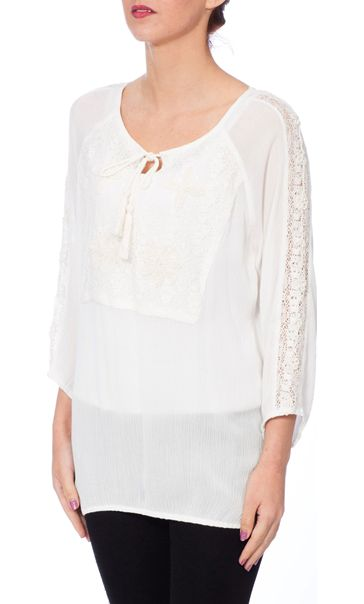 Lace Trim Crinkle Crepe Top