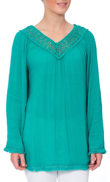 Crochet Trim Long Sleeve Crinkle Crepe Top