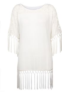 Lace and Tassel Trim Crinkle Crepe Top - Ivory