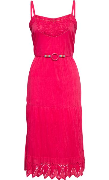 Embroidered Crinkle Cotton Strappy Midi Dress