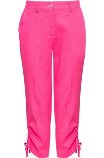 Anna Rose Linen Blend Cropped Trousers - Pink