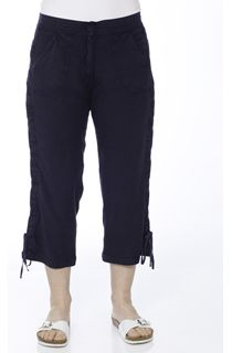 Anna Rose Washed Crop Trousers - Blue