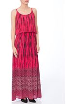 Border Printed Strappy Crinkle Crepe Maxi Dress
