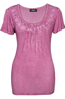 Short Sleeve Washed Jersey Top - Dusky Pink