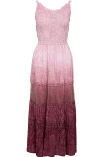 Dip Dyed Tiered Crinkle Cotton Maxi Dress