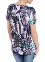Anna Rose Palm Print Embellished Top
