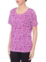 Anna Rose Leaf Print Short Sleeve Top