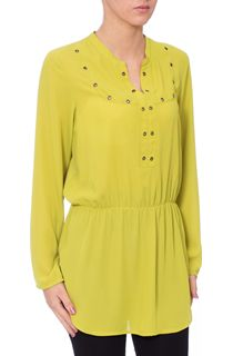 Eyelet Trimmed Long Sleeve Crepe Top - Green