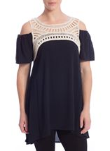Cold Shoulder Crinkle Georgette Tunic