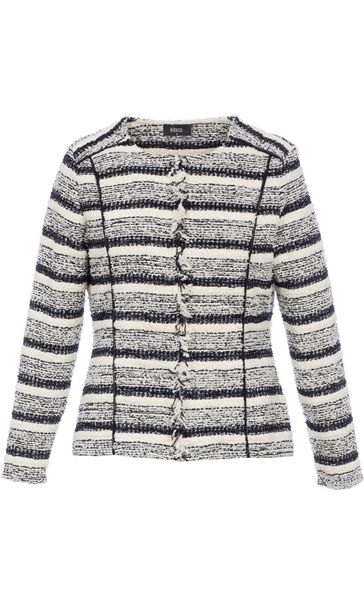 Stripe Unlined Woven Collarless Jacket