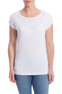 Short Sleeve Lace Trim Jersey Top - White