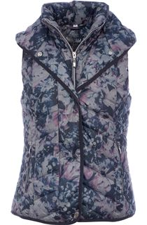 Floral Print Padded Hooded Gilet
