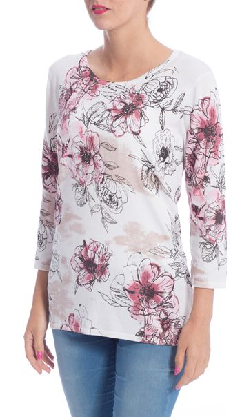 Anna Rose Floral Embellished Knit Top