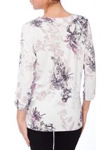 Anna Rose Ruched Sleeve Floral Print Top