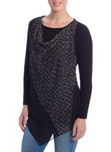 Cowl Neck Layered Knit Tunic