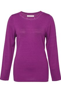 Anna Rose Jewelled Neck Knit Top - Orchid