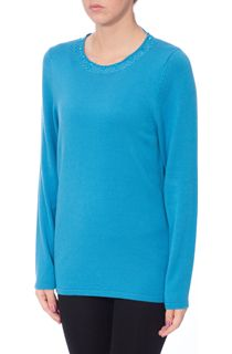 Anna Rose Jewelled Neck Knit Top - Blue