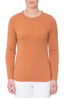 Anna Rose Jewelled Neck Knit Top - Tan