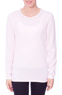 Anna Rose Jewelled Neck Knit Top - Pale Pink