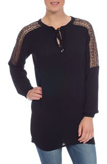 Lace Trim Crinkle Tunic - Black