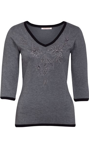 Anna Rose Floral Beaded Knit Top