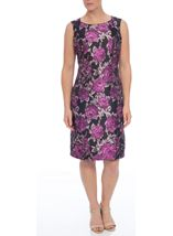 Anna Rose Fitted Jacquard Sleeveless Midi Dress