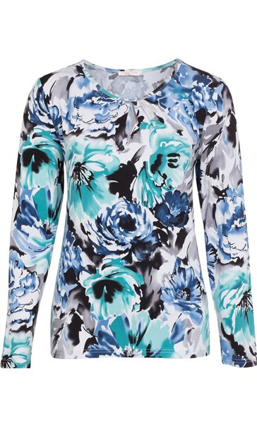 Anna Rose Long Sleeve Floral Print Jersey Top