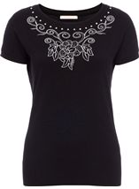 Anna Rose Short Sleeve Embellished Knit Top