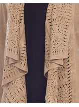 Suedette Laser Cut Waterfall Cardigan