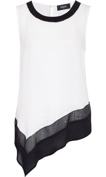 Asymmetric Embellished Chiffon Sleeveless Top