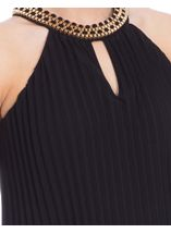 Pleated Sleeveless Embellished Maxi Dress