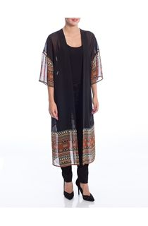 Long Sheer Border Print Cover Up