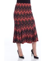 Fit And Flare Zig Zag Jersey Skirt