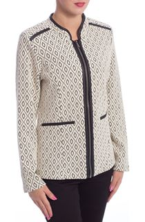 Faux Leather Trim Unlined Zip Jacket