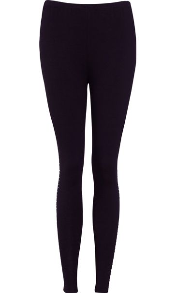 Diamante Trim Full Length Jersey Leggings